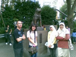 at Hachiko monument in shibuya