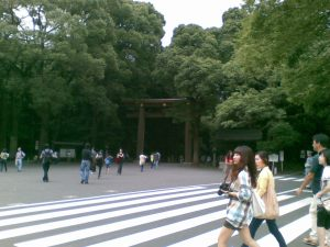 Yoyogi park and the Gate to Meiji Jingu